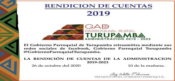 RENDICION DE CUENTAS TURUPAMBA 2019